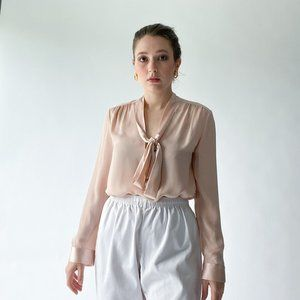 alice + olivia pink silk blouse with neck tie